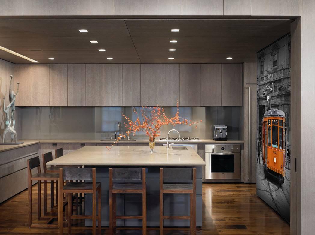 інтер'єр кухні в стилі хай-тек з фотошпалерами