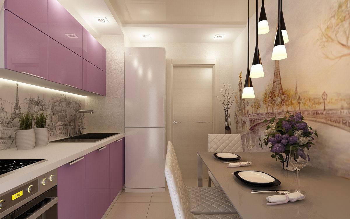 інтер'єр маленької кухні з фотошпалерами
