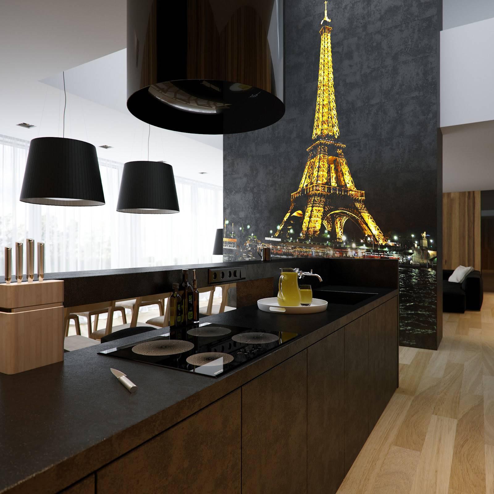 інтер'єр кухні в стилі мінімалізм з фотошпалерами