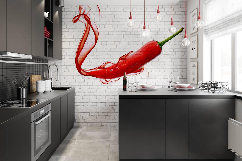 кухня модерн з фотошпалерами
