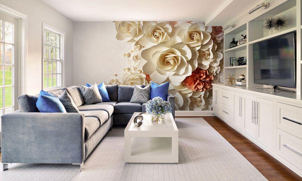 фотообои интерьер цветы 3д