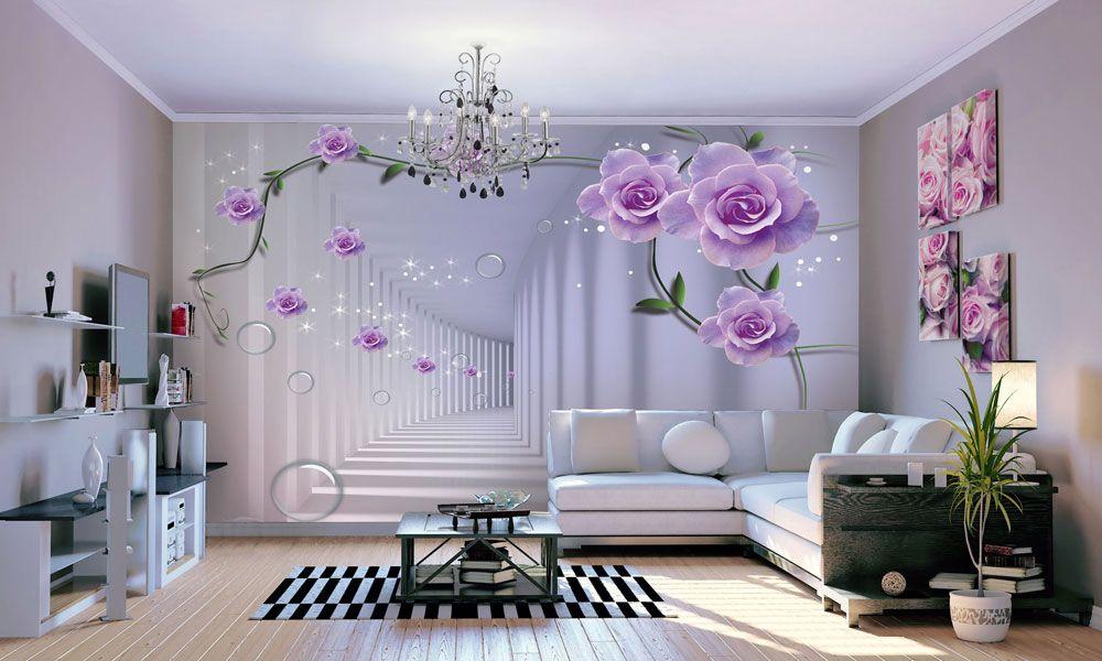 фотообои розы интерьер 3д