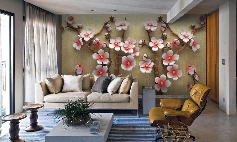 гостиная, интерьер, 3д обои, цветы