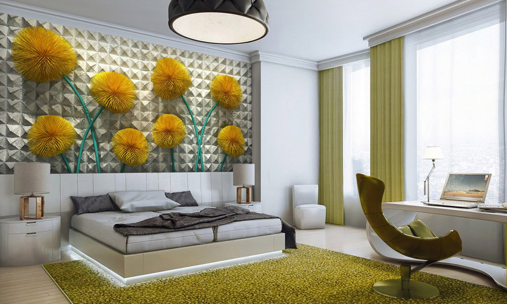 спальня, интерьер, 3д, цветы