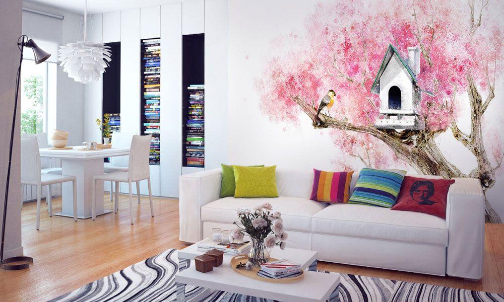 фотообои интерьер дерево цветы гостиная