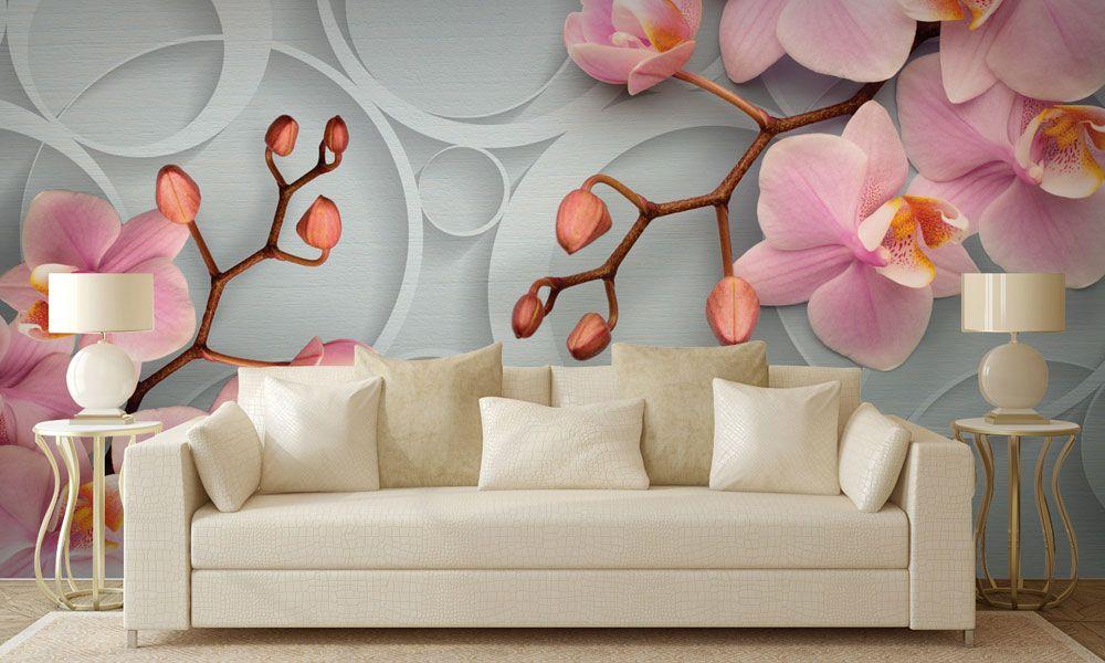 фотообои интерьер 3д орхидеи