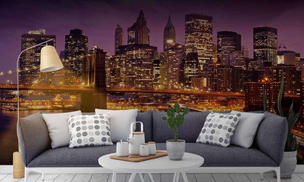 фотообои интерьер мост ночь город гостиная