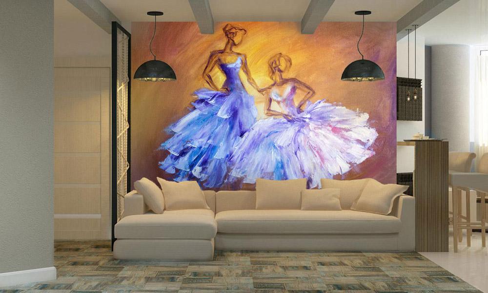 гостиная, интерьер, обои, акварель, картина, искусство
