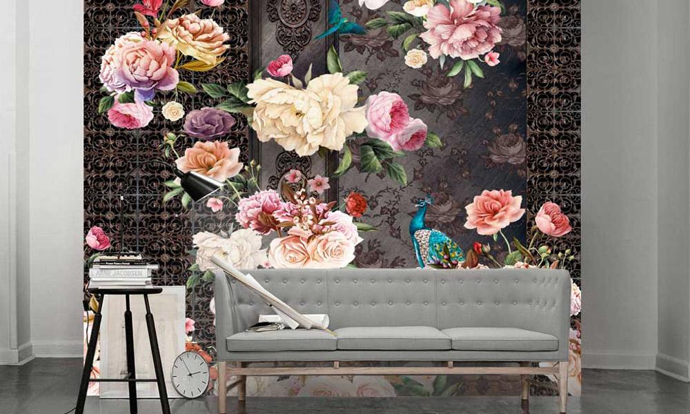 интерьер, фреска, цветы, обои