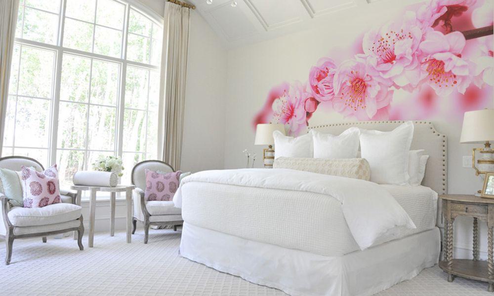 фотообои цветы сакура ветка интерьер спальня