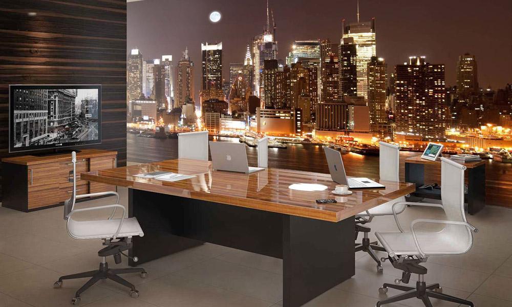 интерьер, офис, обои, ночной город