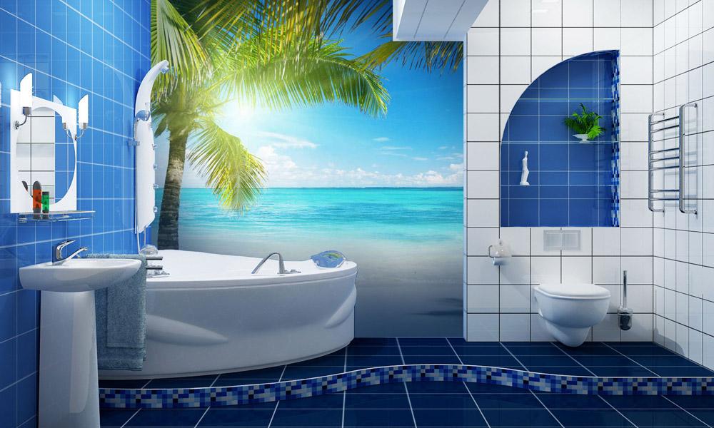 интерьер, ванная, обои, пальма, море